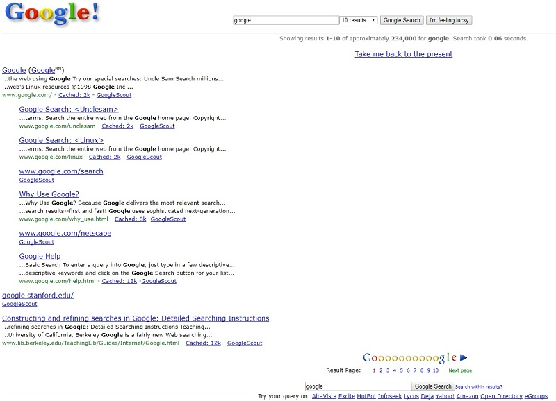 google in 1998 easter egg google