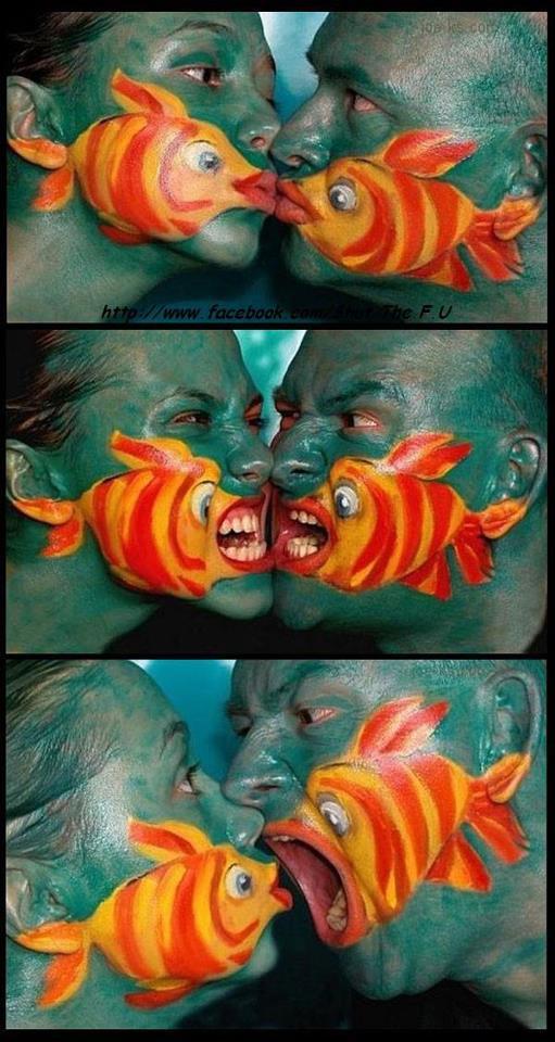 Målningar runt munnen representativ fisk