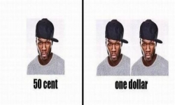 Bildspråk - 50 cent, one dollar