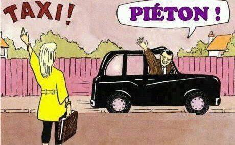 Taxi et piéton