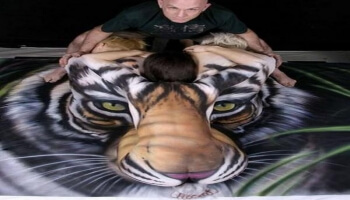 People representing a tiger face