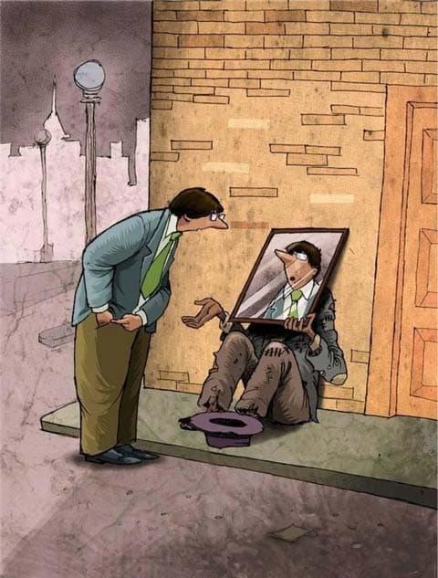 Un mendiant qui fait miroiter